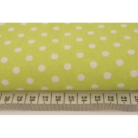 Bawełna 100% kropki 5mm na zielonym tle