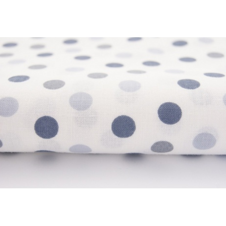 Cotton 100% many shades of gray dots pattern