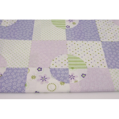 Bawełna 100% patchwork fioletowo zielony