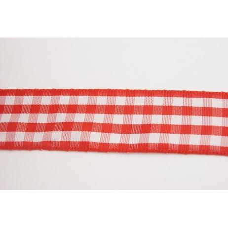 Tasiemka, wstążka krata czerwona 25mmx1m