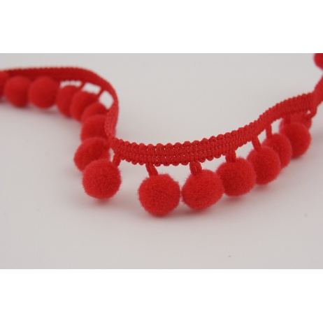 Ribbon red small pom poms