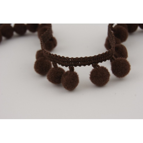 Ribbon chocolate brown small pom poms