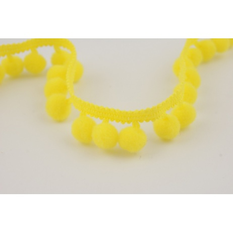 Tasiemka z pomponami żółta (mała)