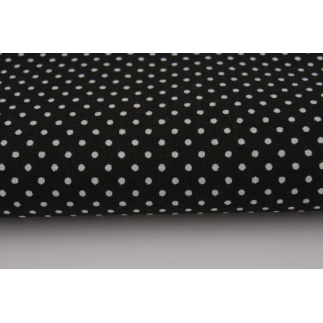Cotton 100% polka dots 2mm on a black background