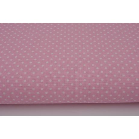 Bawełna 100% kropki białe 2mm na j.różowym tle