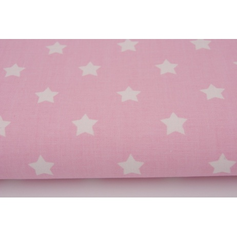 Cotton 100% white stars on a light pink background