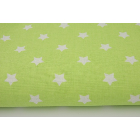Cotton 100% white stars on a green background