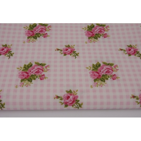 Cotton 100% pink roses on a checked background