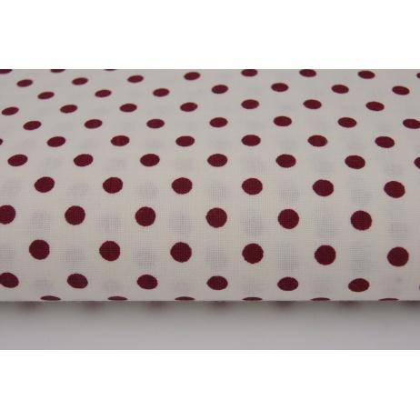 Bawełna 100% biała w bordowe kropeczki 5mm