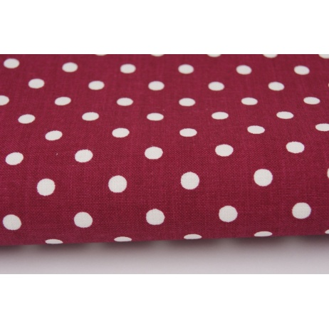 Cotton 100% dots 5mm on bordeaux background