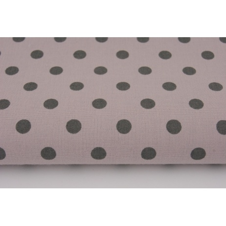 Cotton 100% gray polka dots 7mm on a powder lilac background