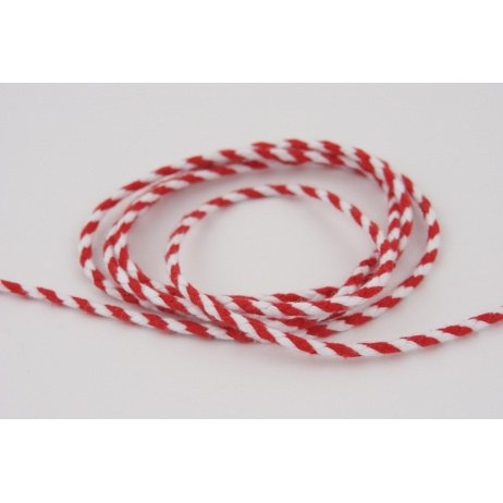 Cotton string white red 3mm x 2m