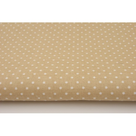 Cotton 100% dots 1,5mm on a beige background