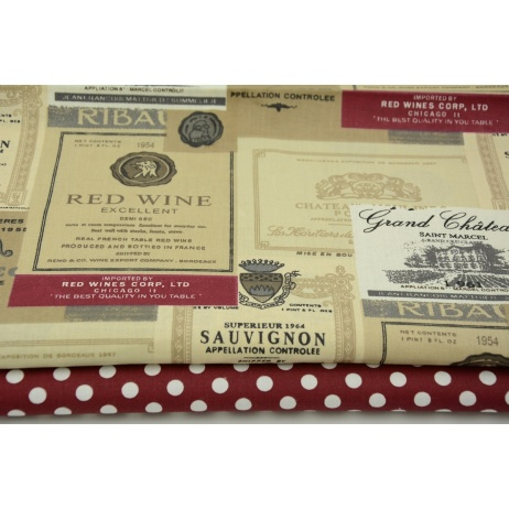 Cotton 100% beige-bordeaux labels