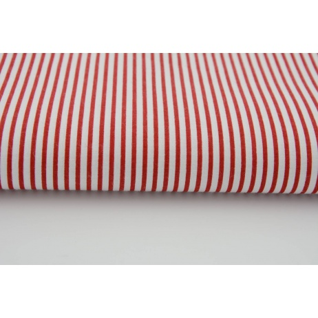 Cotton 100% red stripes on a white background
