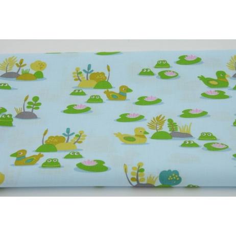 Bawełna 100% małe żabki w stawie