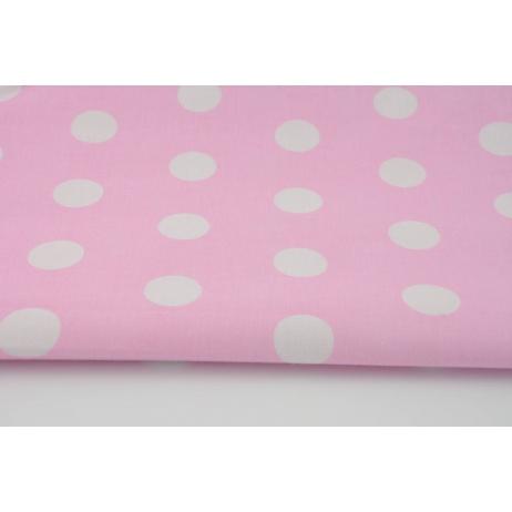 Bawełna 100% kropeczki, kropki 22mm różowe tło