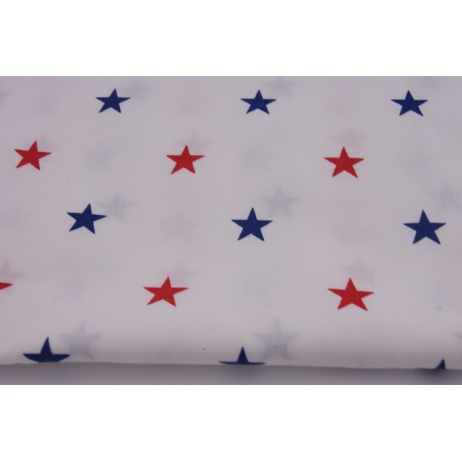 Cotton 100% stars red, navy on white background