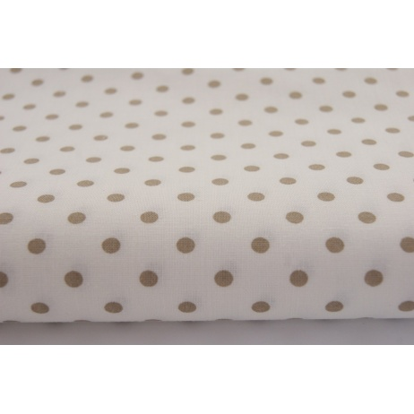 Cotton 100% beige 5mm dots on a white background