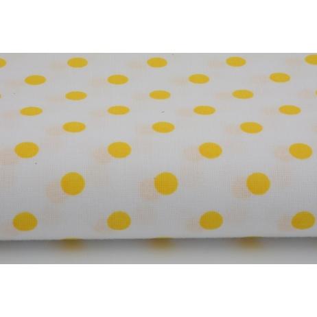 Bawełna biała w 7mm żółte kropki