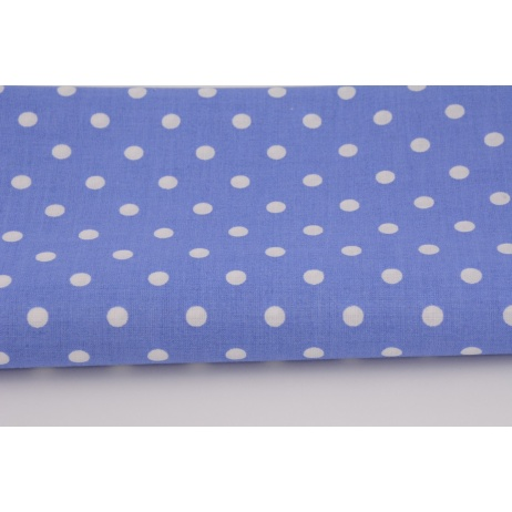 Cotton 100% white 7mm polka dots on a dark blue background