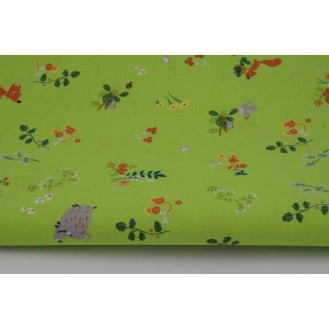 Bawełna 100% zwierzęta na zielonej łące