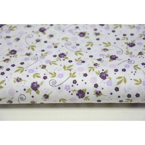 Bawełna 100% fioletowe kwiatki, łączka