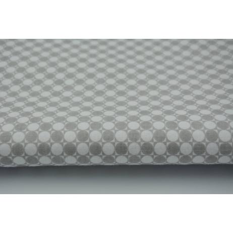 Bawełna 100% jasnoszare kółka w kwadratach