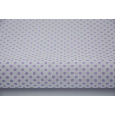 Bawełna 100% biała w fioletowe kropeczki 3mm