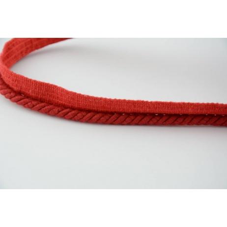 Sznurek bawełniany czerwony z taśmą o średnicy 6mm