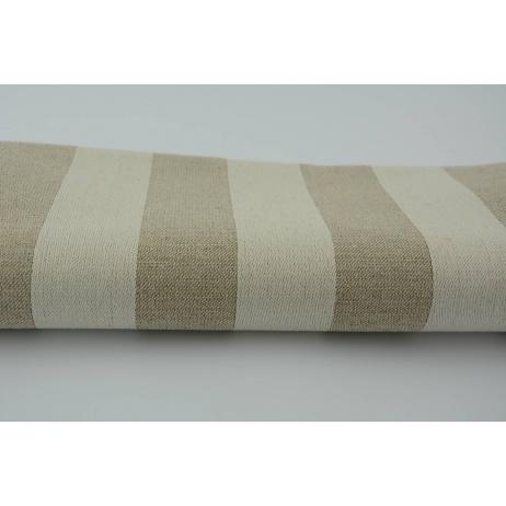 55% len, 45% bawełna - pasy beżowo kremowe 5x5 cm