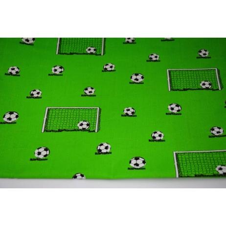 Bawełna 100% piłki, bramki, boisko piłkarskie na zielonym tle