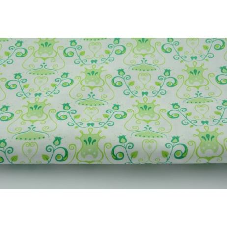 Bawełna 100% zielone kielichy kwiatów na białym tle