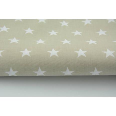 Bawełna gwiazdki białe 2cm na jasno beżowym tle