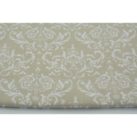 Bawełna 100% Q biały ornament, damask na beżowym tle