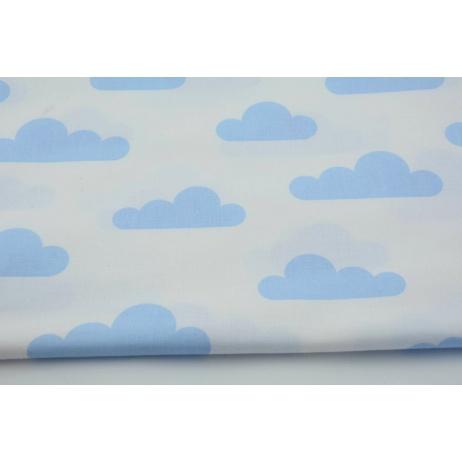Bawełna 100% niebieskie chmurki na białym tle