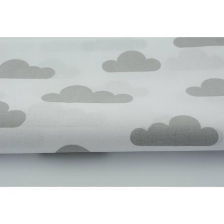 Bawełna 100% jasnoszare chmurki na białym tle