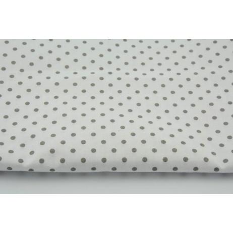 Bawełna 100% szare kropki 4mm na białym tle *1m*