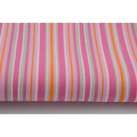 Bawełna 100% szaro, różowo amarantowe paski