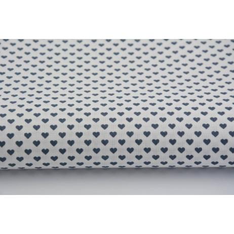 Bawełna 100% drobne, ciemnoszare, 4mm serduszka na białym tle