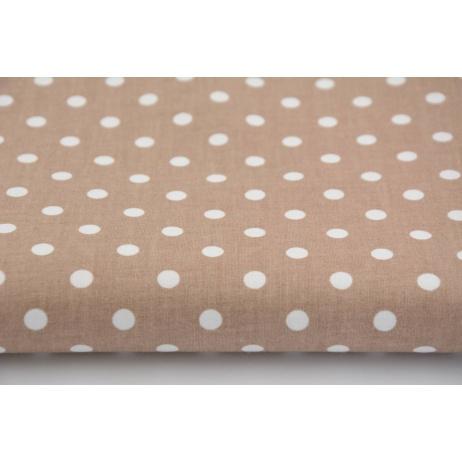 Bawełna 100% kropeczki, kropki 6mm na beżowym tle