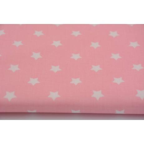 Bawełna laminowana białe gwiazdki na różowym tle