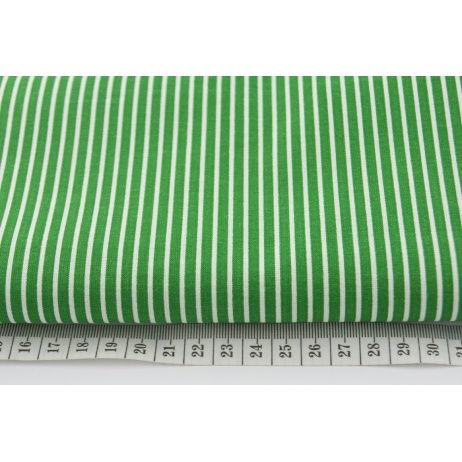 Cotton 100% white stripes on a green background