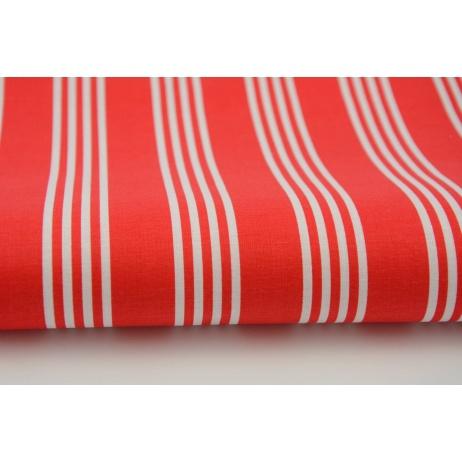 Bawełna 100% biało, czerwone paski, pasy