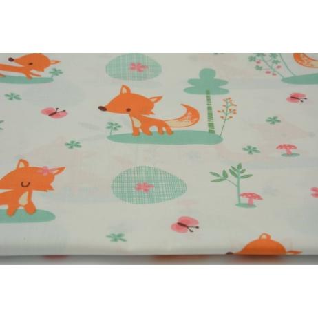 Bawełna 100% pomarańczowe lisy, liski