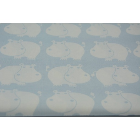 Bawełna 100% hipopotamy na błękitnym tle