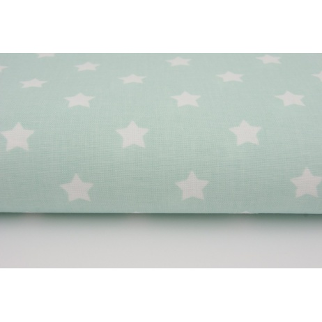Cotton 100% white stars on a mint background