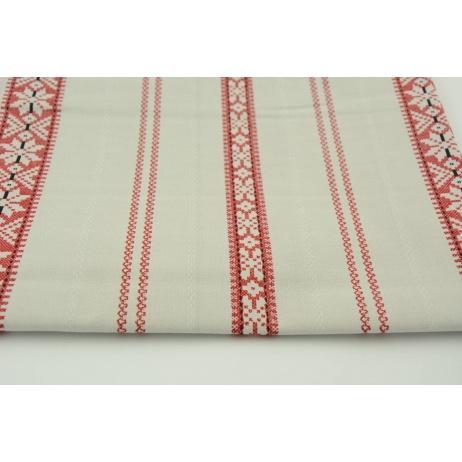 Bawełna 100% czerwony skandynawski wzór na beżowo szarym tle