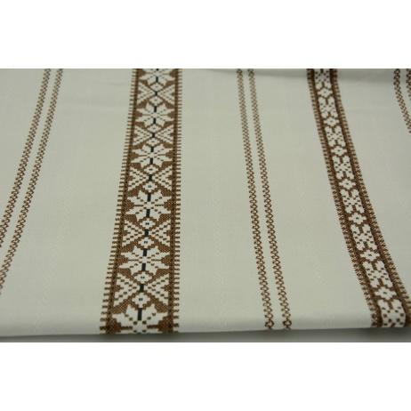 Bawełna 100% brązowy skandynawski wzór na beżowo szarym tle