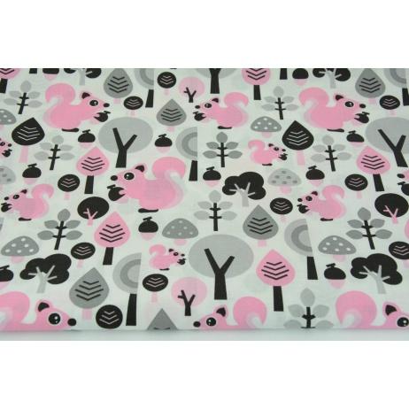 Bawełna 100% różowe wiewiórki w lesie